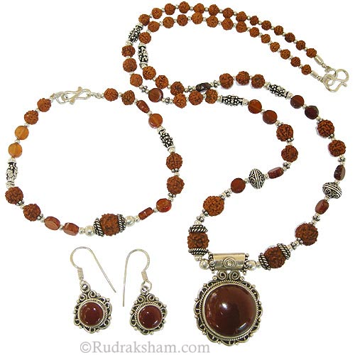 hessonite rudraksha jewelry set by rudrakshamcom